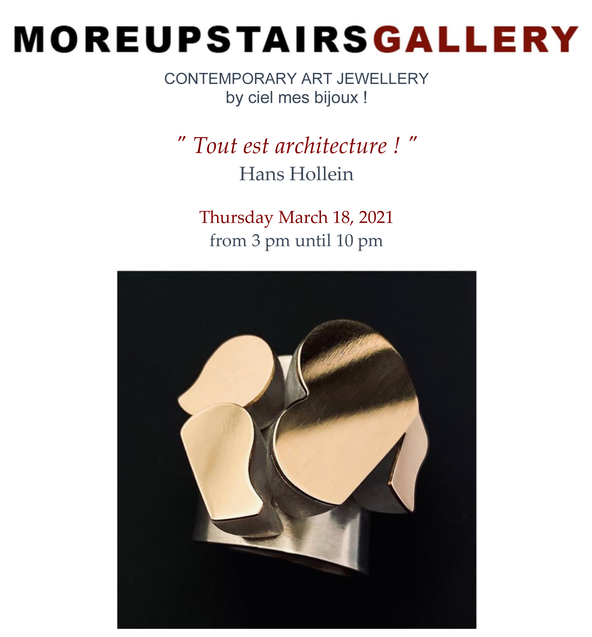 'Tout est architecture!' exposition Moreupstairs Gallery